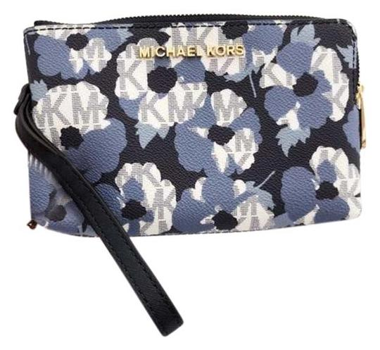 Preload https://img-static.tradesy.com/item/25999183/michael-kors-navywhite-large-double-zip-wristlet-mk-signature-floral-wallet-0-3-540-540.jpg