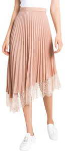 A.L.C. Pleated Lace Trim Skirt Blush