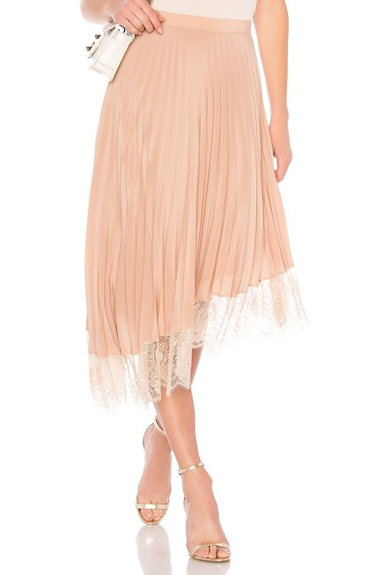 A.L.C. Pleated Lace Trim Skirt Blush Image 1
