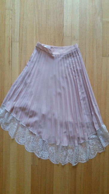 A.L.C. Pleated Lace Trim Skirt Blush Image 3