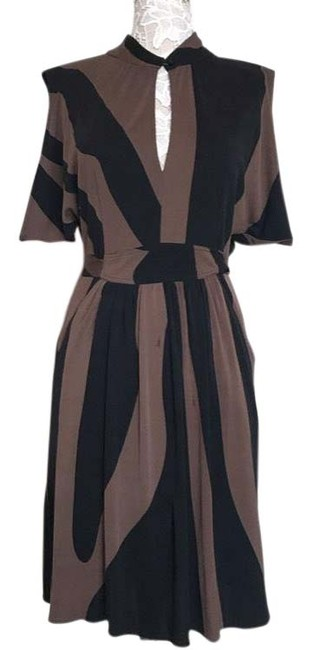 Item - Silk Keyhole Black & Brown Night Out Dress Size 10 (M)