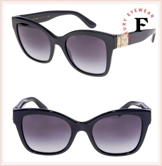 Dolce&Gabbana 4309 Black Gold Plaque Oversized Sunglasses DG4309S Authentic Image 2
