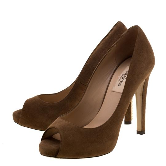 Valentino Suede Peep Toe Leather Brown Pumps Image 6