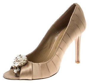 Valentino Satin Pearl Crystal Embellished Leather Beige Pumps