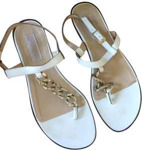 Michael Kors Leather Chain T-strap Metal Buckle white Sandals