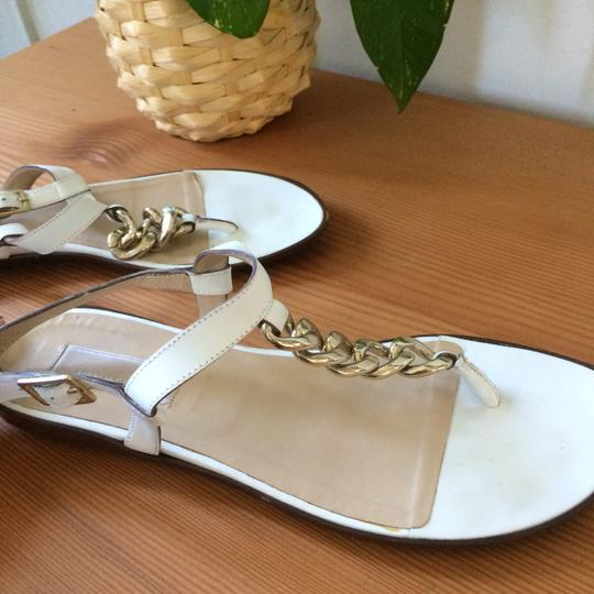 Michael Kors Leather Chain T-strap Metal Buckle white Sandals Image 1
