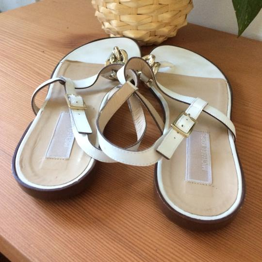 Michael Kors Leather Chain T-strap Metal Buckle white Sandals Image 2