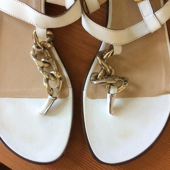 Michael Kors Leather Chain T-strap Metal Buckle white Sandals Image 4