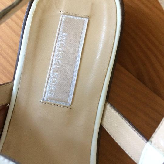 Michael Kors Leather Chain T-strap Metal Buckle white Sandals Image 6
