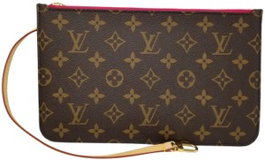 Louis Vuitton Pochette Neverfull Pouch Cosmetic Brown,Pivoine Clutch