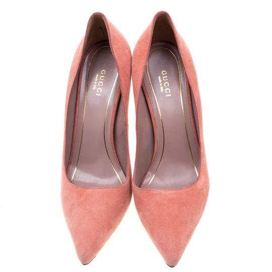 Gucci Suede Pointed Toe Leather Pink Pumps Image 1