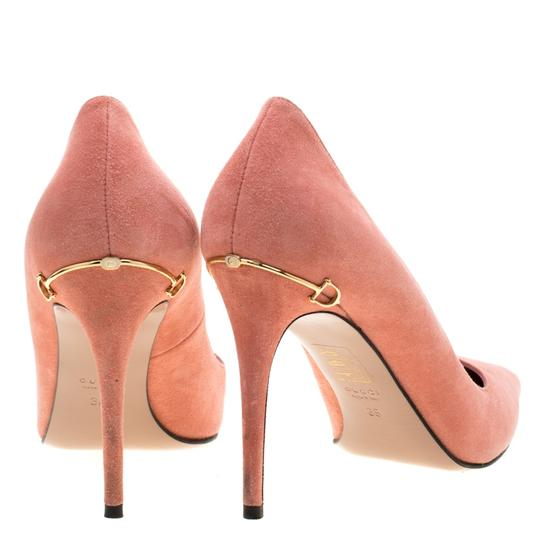 Gucci Suede Pointed Toe Leather Pink Pumps Image 2