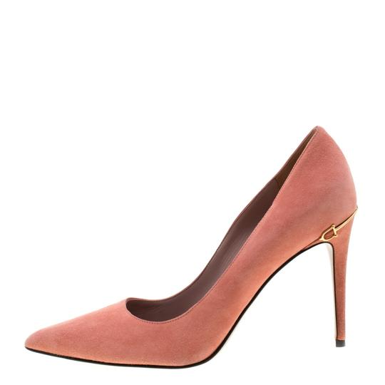 Gucci Suede Pointed Toe Leather Pink Pumps Image 4