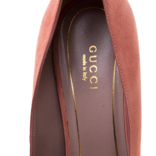 Gucci Suede Pointed Toe Leather Pink Pumps Image 5