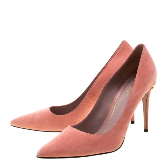 Gucci Suede Pointed Toe Leather Pink Pumps Image 6