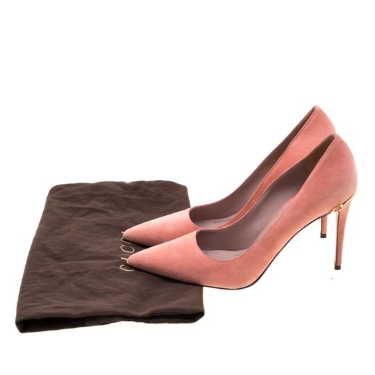 Gucci Suede Pointed Toe Leather Pink Pumps Image 7