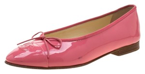 Chanel Patent Leather Ballet Leather Pink Flats