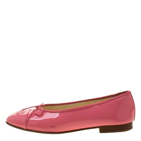 Chanel Patent Leather Ballet Leather Pink Flats Image 3