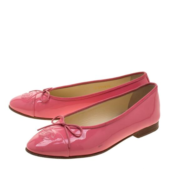 Chanel Patent Leather Ballet Leather Pink Flats Image 4
