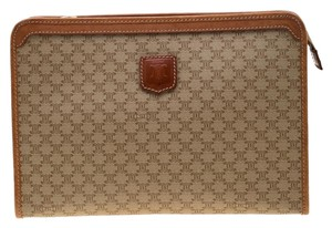 Céline Leather Canvas Beige Clutch