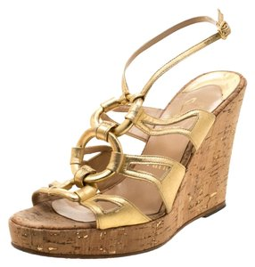 Christian Louboutin Leather Ankle Strap Wedge Gold Sandals