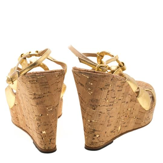 Christian Louboutin Leather Ankle Strap Wedge Gold Sandals Image 2