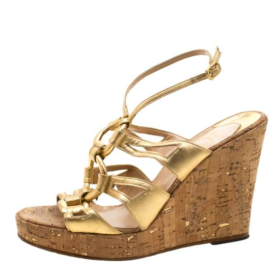 Christian Louboutin Leather Ankle Strap Wedge Gold Sandals Image 3