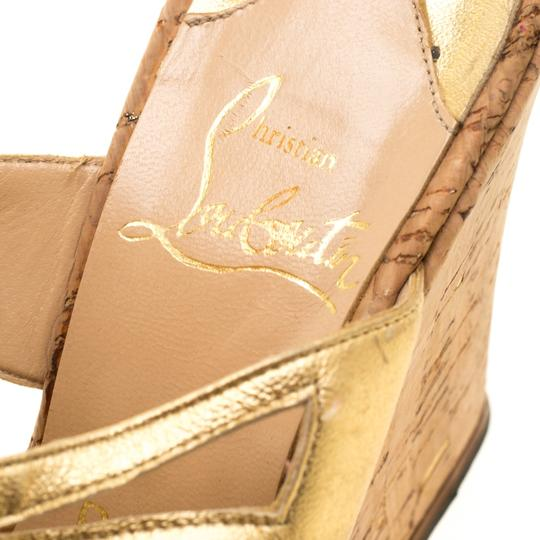 Christian Louboutin Leather Ankle Strap Wedge Gold Sandals Image 5