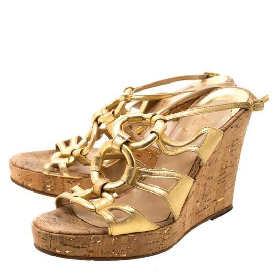 Christian Louboutin Leather Ankle Strap Wedge Gold Sandals Image 6