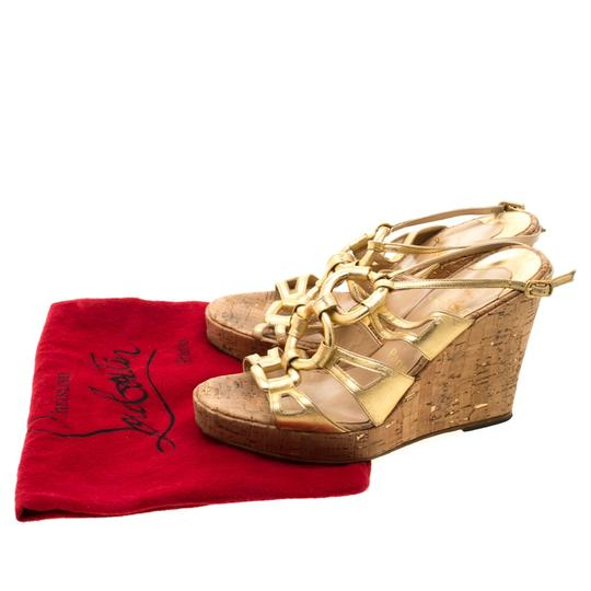 Christian Louboutin Leather Ankle Strap Wedge Gold Sandals Image 7