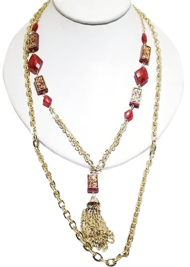 Preload https://img-static.tradesy.com/item/25999359/red-acrylic-beaded-tassel-multi-strand-necklace-0-3-540-540.jpg