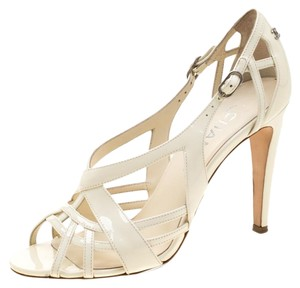 Chanel Patent Leather Leather White Sandals
