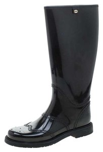 Gucci Rubber Leather Detail Black Boots
