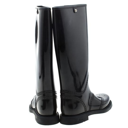 Gucci Rubber Leather Detail Black Boots Image 2
