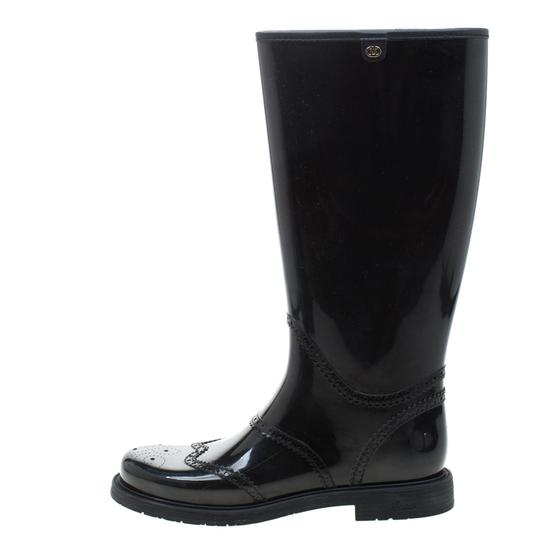 Gucci Rubber Leather Detail Black Boots Image 3