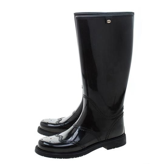 Gucci Rubber Leather Detail Black Boots Image 4