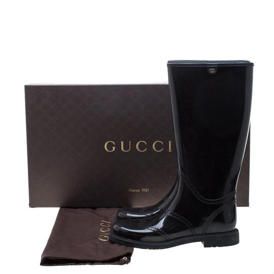 Gucci Rubber Leather Detail Black Boots Image 7