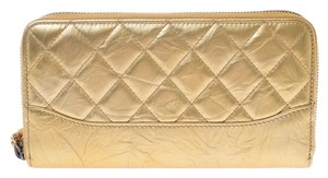 Chanel Chanel Round Fastener Wallet Gold Women's Leather Long