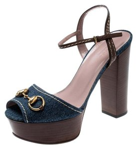 Gucci Leather Denim Ankle Strap Blue Sandals