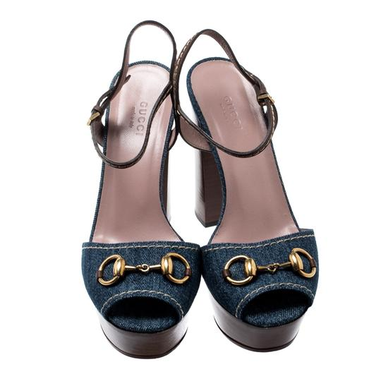 Gucci Leather Denim Ankle Strap Blue Sandals Image 1
