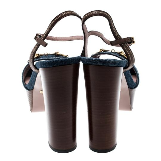 Gucci Leather Denim Ankle Strap Blue Sandals Image 2