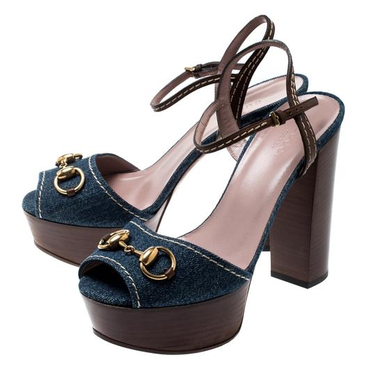 Gucci Leather Denim Ankle Strap Blue Sandals Image 4