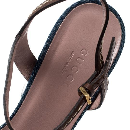 Gucci Leather Denim Ankle Strap Blue Sandals Image 6