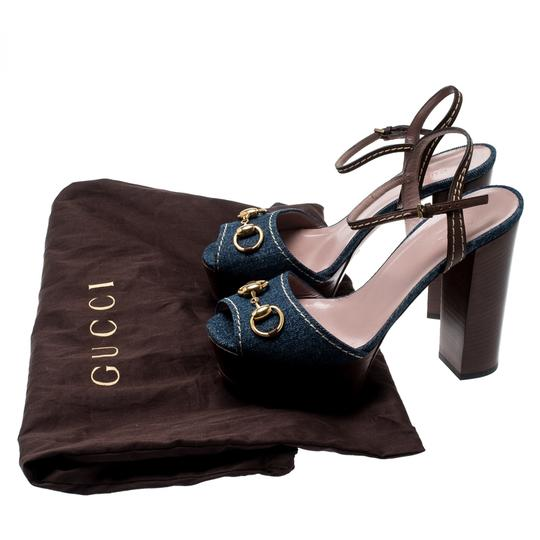 Gucci Leather Denim Ankle Strap Blue Sandals Image 7