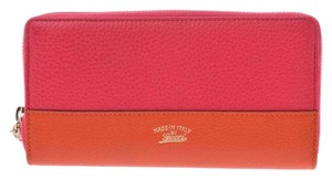 Gucci Gucci Round Fastener Purse Pink / Orange Bicolor Ladies Calf Bamboo New GUCCI Box