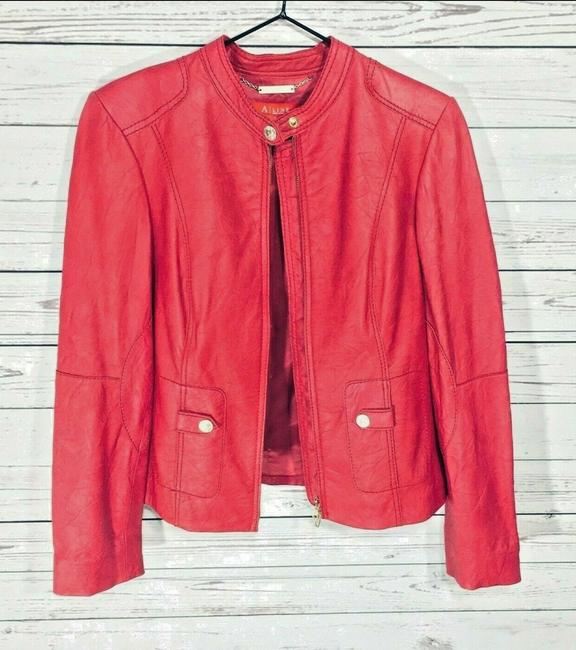 Anne Klein Red Leather Jacket Image 1