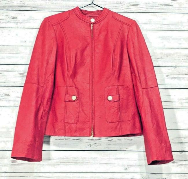 Anne Klein Red Leather Jacket Image 2