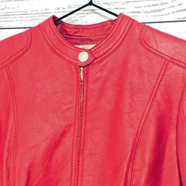 Anne Klein Red Leather Jacket Image 3