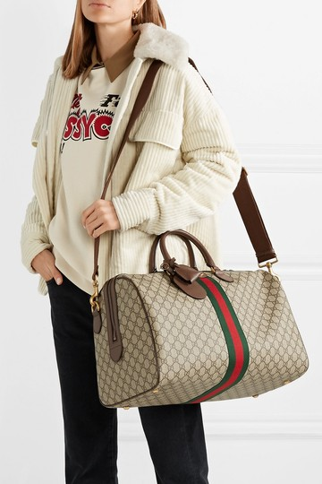 Gucci Gg Supreme Gg Ophidia Ophidia Gg Medium Gg Duffle Beige Travel Bag Image 1