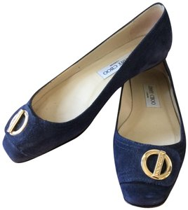 Jimmy Choo Buckle Suede Square Toe navy blue Flats